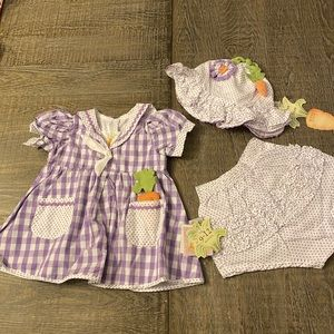 NWT Bunnies By The Bay Dress bonnet bloomers set